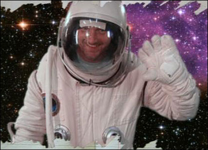 In The Worst Thing Ever?, Darren's dad magically appears as a spaceman, from the pages of a diary. How did we do that?