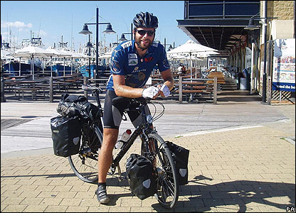 Mark Beaumont - a 25-year-old student from Scotland - has become the fastest person to cycle around the world. Here he is in Australia.