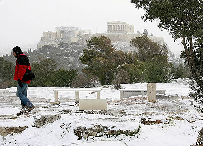 A view of the Acropolis's famous Parthenon temple. People are used to visiting these famous sights in blazing sunlight!