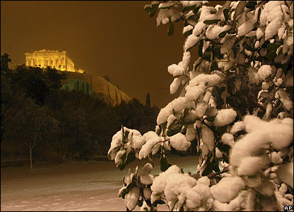 Check out this view of Acropolis hill's 2,400-year-old buildings in central Athens. Temperatures plummeted to minus 15 degrees in some areas.