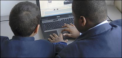Pupils using a computer
