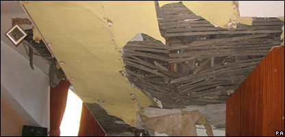 The roof of this house in Barnsley was damaged during the quake