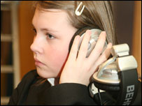 A School Reporter at Oldham City Learning Centre checks the sound level