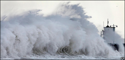 Huge waves in Porthcawl, south Wales, on Monday