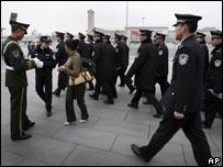 兩會期間天安門廣場保安嚴密