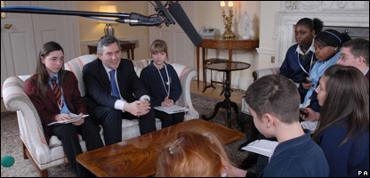 The Prime Minister Gordon Brown meets and is interviewed by pupils