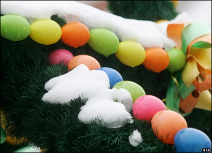 Easter decorations covered in snow in Germany