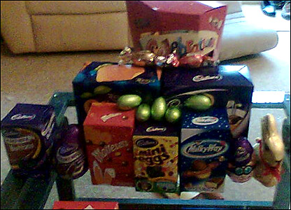 Alex's pile of Easter treats