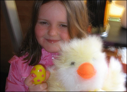 Charlotte, 9, after her Easter egg hunt