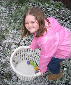 Charlotte, 9, doing an Easter egg hunt