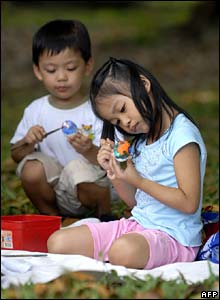 Filipino children painting eggs