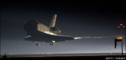 The shuttle arrives home