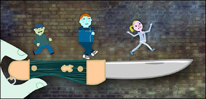 An animation still from Newsround on Knives