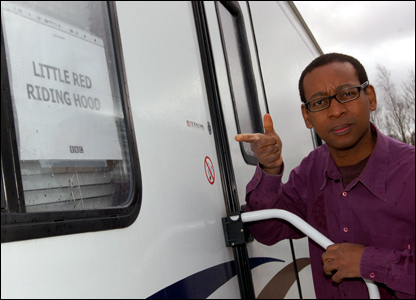Lizo outside a trailer