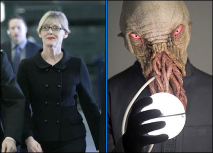 Sarah Lancashire as Miss Foster, and the Ood