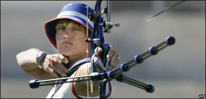 Britain's Alison Williamson shoots an arrow at the Women's Individual Archery competition in the 2004 Olympic Games in Athens, Greece