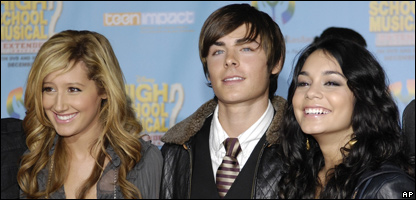 Ashley Tisdale, left, Zac Efron, centre and Vanessa Hudgens