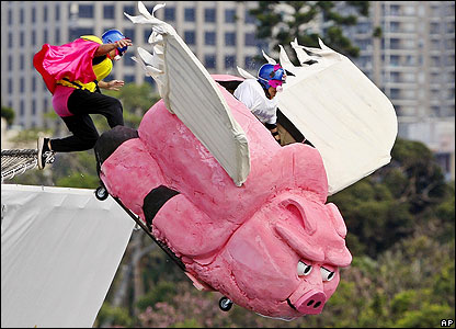 There were some weird and wonderful designs - including this flying pig. Pigs might fly, eh?!
