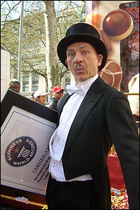 The record-breaking box caused a stir in London's Leicester Square when it was unveiled to celebrate the launch of a new product by choccie company Thorntons.