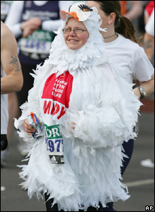 Runner dressed as a bird