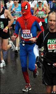 Man dressed as spidersman