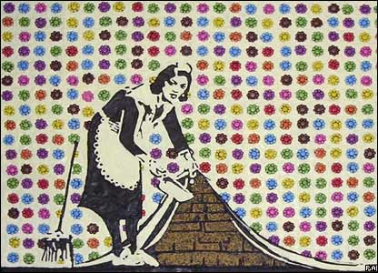 Banksy's Clean Streets Maid made up of Smarties