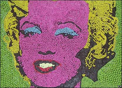 Andy Warhol's Marilyn Monroe made up of Smarties