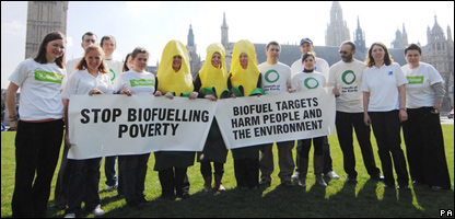 Protesters against biofuels in London