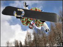 Liu Jiayu from China competing in a snowboarding competition