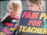 Kids holding banners supporting the teachers' strike