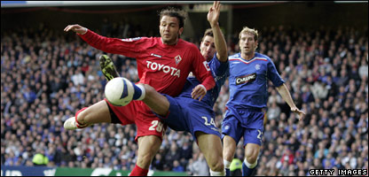 Fiorentina's Italian forward Giampaolo Pazzini is blocked by Rangers' Spanish defender Carlos Cuellar