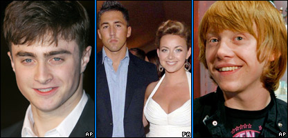 Harry Potter star Daniel Radcliffe, Rugby star Gavin Henson and singer Charlotte Church, Rupert Grint