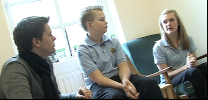 Jake chatting to some of the pupils at the school