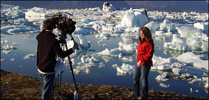 Laura reporting on climate change from Iceland