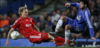 Chelsea's Michael Ballack (right) and Liverpool's Sami Hyypia take a tumble