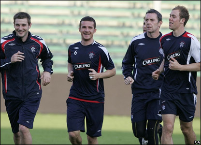 Rangers players training in Fiorentina, Italy