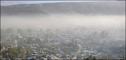 The city of Esquel, 1,900km southwest of Buenos Aires, covered with ashes after the eruption of the volcano in neighbouring Chile
