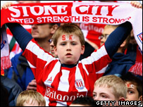 Stoke fans show their support for their club