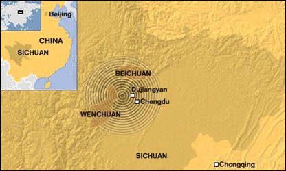 A map of China, showing the Sichuan province and areas affected by the quake