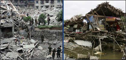 L-R: Scenes of the devastation in China and Burma