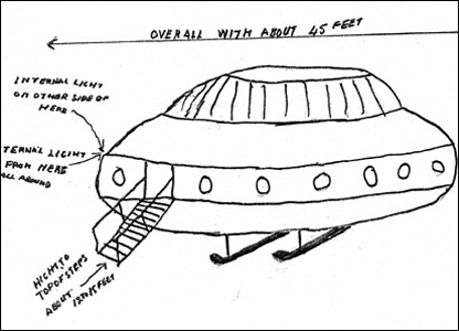 Drawing of a flying saucer [pic: National Archives]