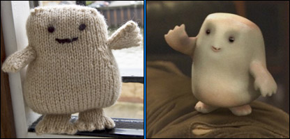 The knitted Adipose and the TV version it was based on.