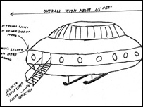 A drawing of a flying saucer [pic: National Archives}