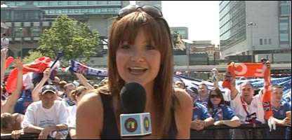 Helen doing a live report in Manchester