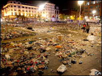 Rubbish left behind in Piccadilly Gardens in Manchester, where a big screen set up for fans stopped working.