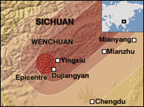 A map showing the worst hit parts of the Sichuan province