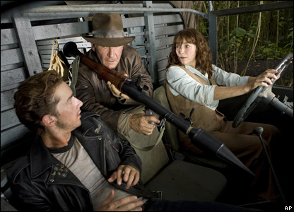 Shia LaBeouf, left, Harrison Ford and Karen Allen