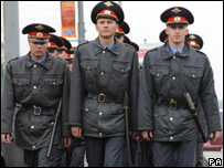 The Russian security get ready for the match