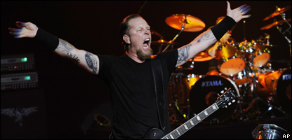 James Hetfield of Metallica at a concert in America