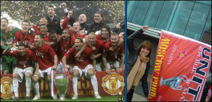 Manchester United celebrating in Russia and Helen in Manchester